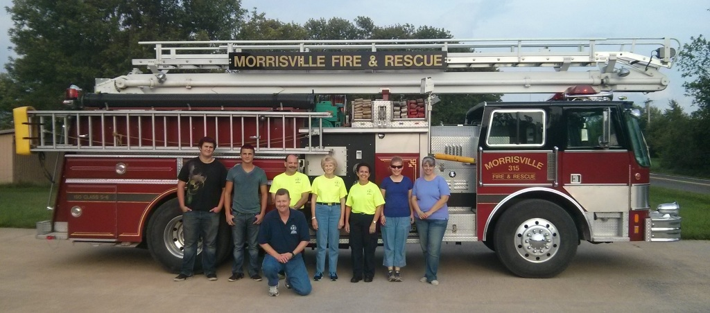 The Morrisville Emergency Medical Responder class completed its training and poses in front of the recently paid off aerial truck 315.